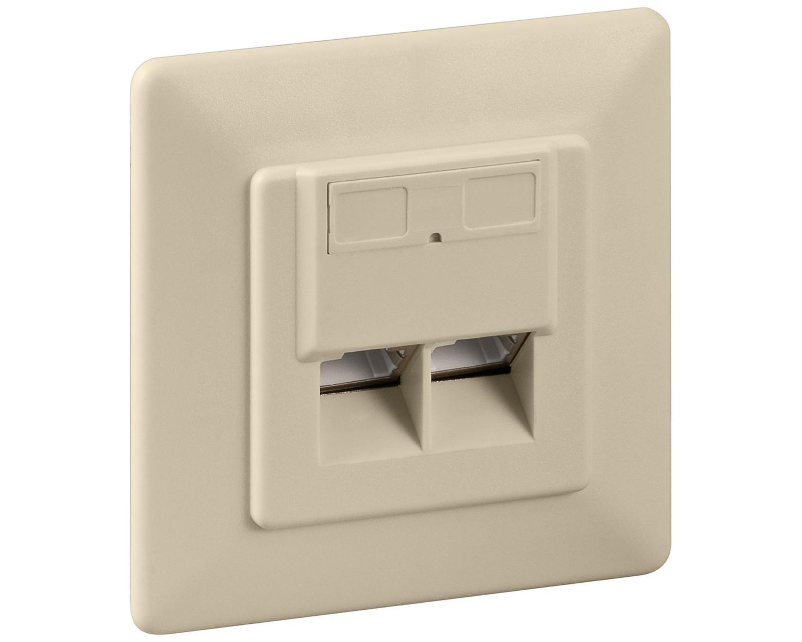 goobay cat 6 unterputz netzwerk anschlu dose 2x rj45 lsa. Black Bedroom Furniture Sets. Home Design Ideas