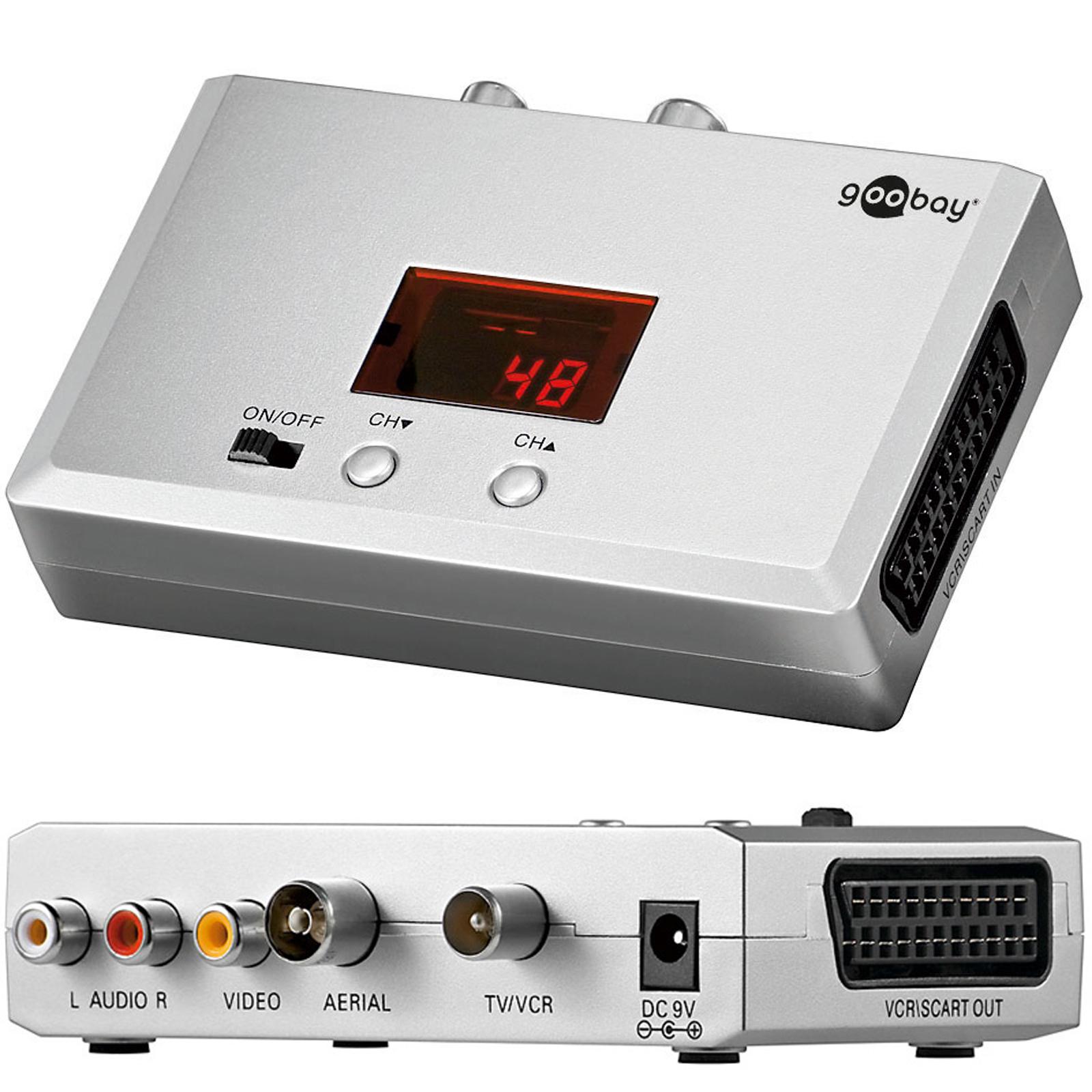 breitband audio video hf modulator scart cinch auf antenne konverter uhf vhf. Black Bedroom Furniture Sets. Home Design Ideas